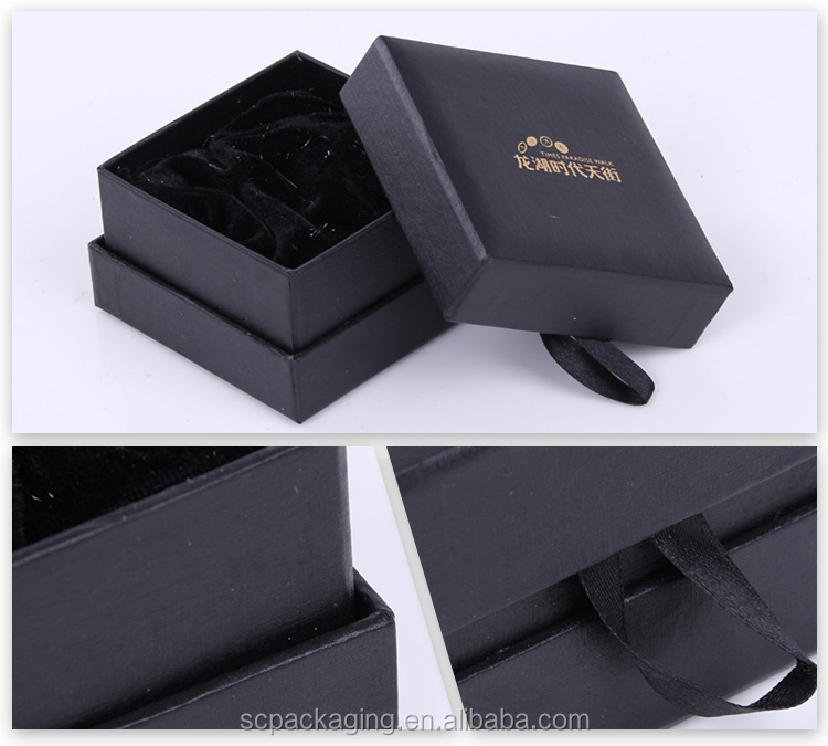 Custom luxury decorative cardboard paper black gift box package
