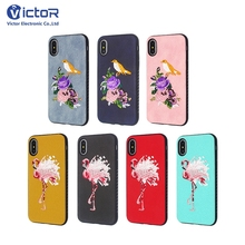 Mobile phone accessories Hot handmade embroidery leather sticker TPU case for iphone X with red-crowned crane design