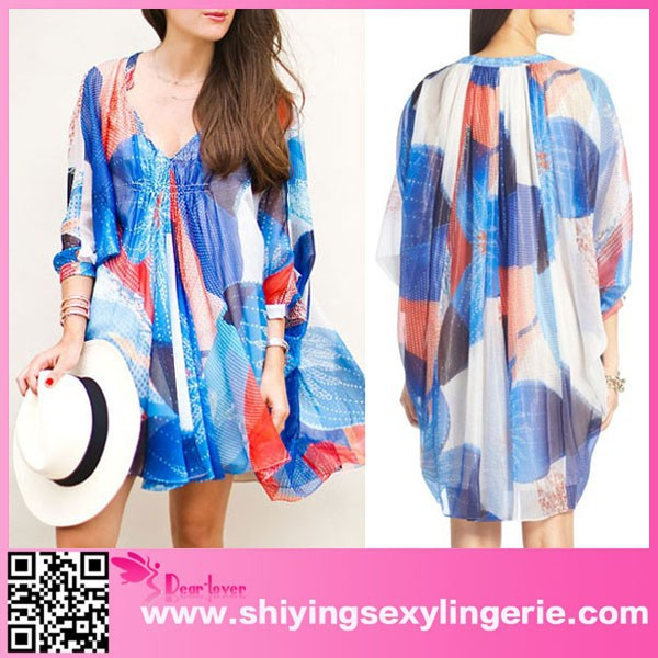 Luxury Wholesale Double Layer Fleurette Chiffon Dress 100 Polyester Swim Suit