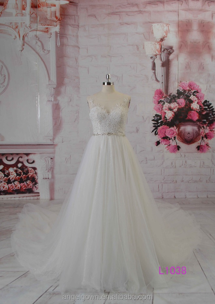 2016 guangzhou new arrival see through long beaded lace A-line wedding dresses