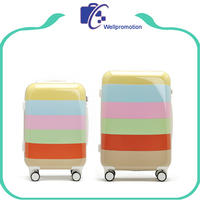 Stripe printed zipper type hard shell suitcases luggage