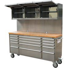 72 inch stainless steel workshop roller cabinet with drawer/wheels/wood top