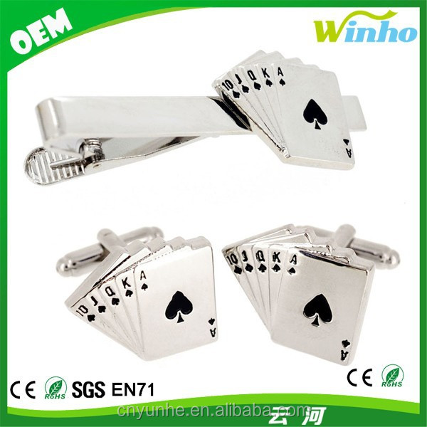 Royal Flush Poker Hand Cufflinks And Tie Clip Set