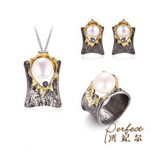 Original Design Round 바로크 펄 Silver Women Graceful Jewelry Sets