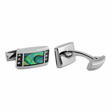 2014 Wholesale Blanks Custom abalone cz stone Mens Stainless Steel the cuff links