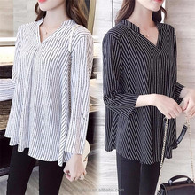 Hot sale summer women top fashion long sleeve ladies striped office shirt blouse