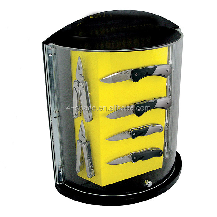 Knife Store Display Stand Custom retail store pos black Cylindrical acrylic knife display case