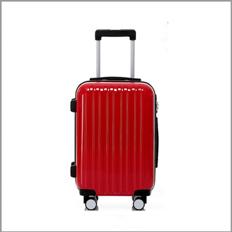 2016 china new arrivels pc spinner striped travel trolley cabin luggage