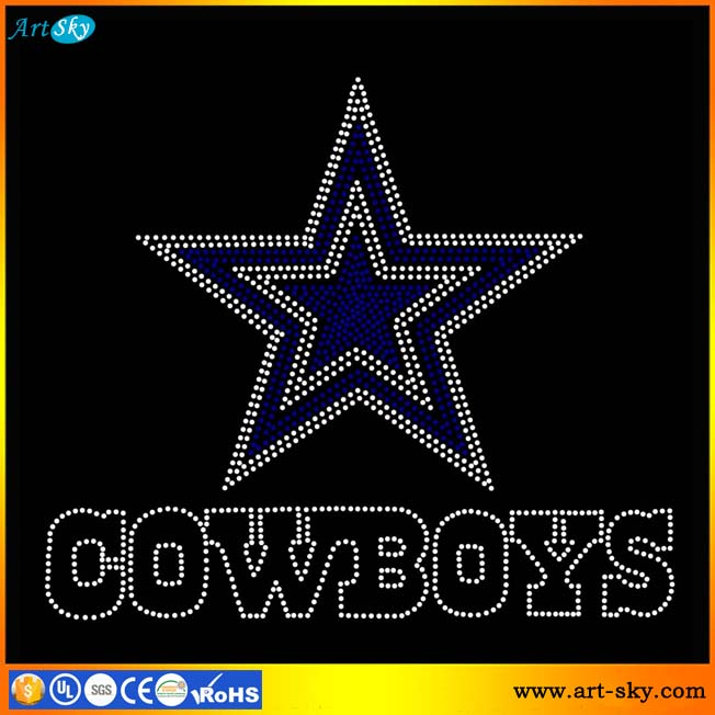 Artsky professional factory retail high quality clear blue rhinestone DALLAS Star COWBOYS transfer bling