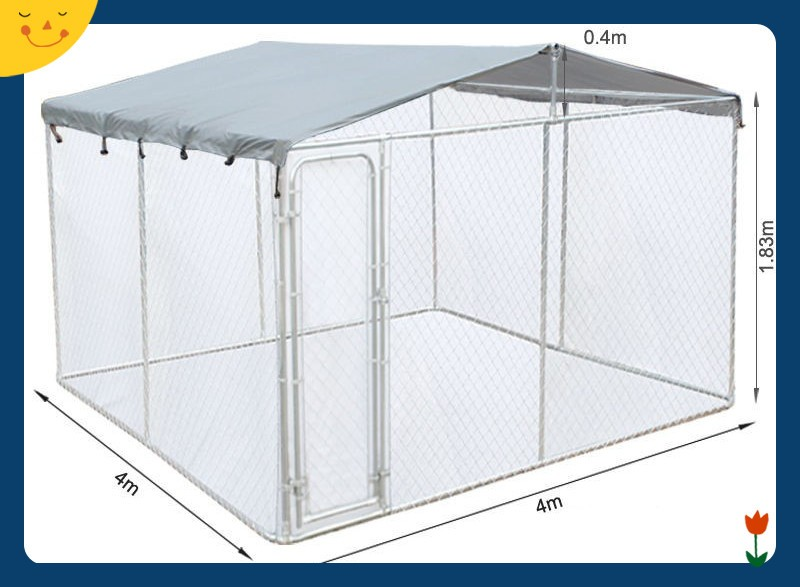 Dog Kennel 7.5 x 7.5 x 4 Feet DIY Box Kennel Chain Link Dog Pet System Run for Chicken Coop Hens House