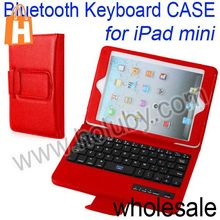 For iPad Mini Wireless Bluetooth Keyboard+Lichee Texture Stand PU Leather Case Cover with Stand