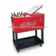 budweiser cooler/rolling patio cooler cart/budweiser stainless cooler