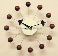 living room wall clocks designer walnut Ball Clock good quality wall clock