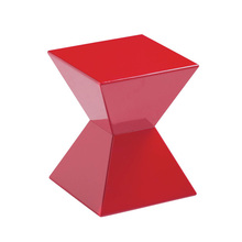 High gloss red acrylic end table, Lucite coffee chair, office furniture/home bar table