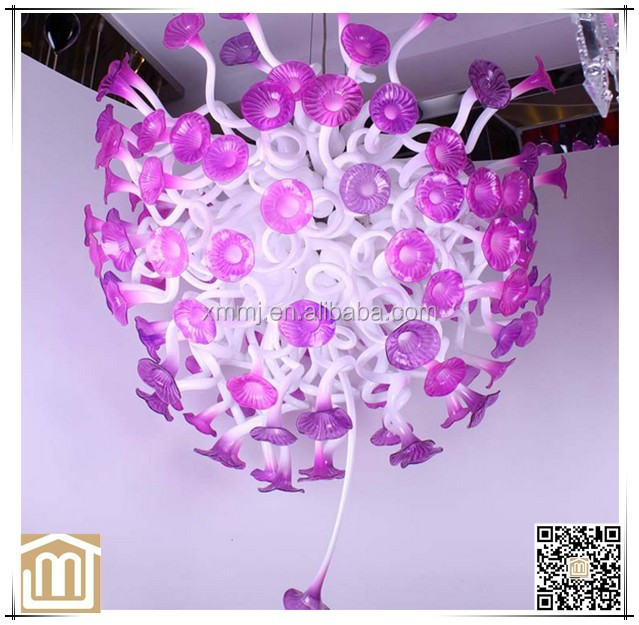 Contemporary hand blown Murano art pink colored flower glass ball chandelier