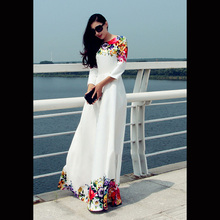 2016 New Women Dresses With White Floral Maxi Dress Women Floral party evening Dress Women Clothing