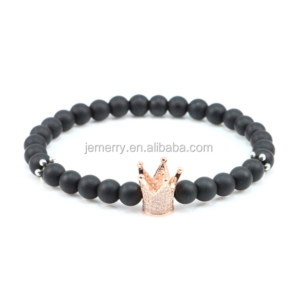 2018 New Brand Trendy Imperial Crown Charm Bracelets Men Natural Agate Stone Beads For Women Men <strong>Jewelry</strong>