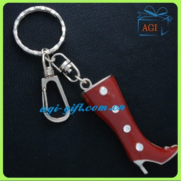 3d boot shape metal keychain key ring