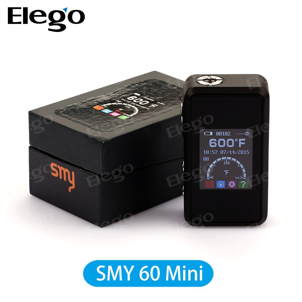 SMY new mini box mod TC SMY60 Mini With big LCD screen and carbon fiber cover