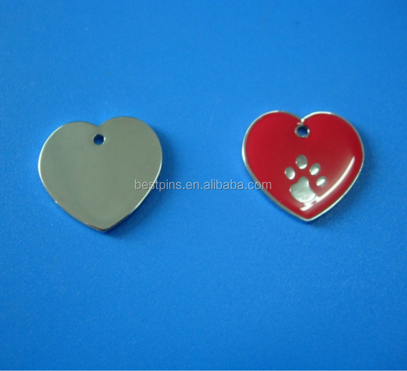 heart shape paw punch pet id tags with AP