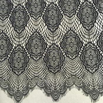 Cheapest eyelash net lace fabric 3M width black 100% nylon African lace fabric for garment