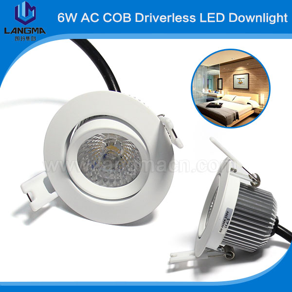 Dimmable 38degree Samsung ac cob driverless 6w led downlights