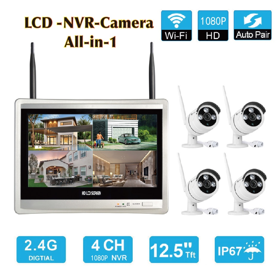 Wifi Camera with LCD screen Monitor 4CH wireless NVR Combo waterproof outdoor home CCTV security system 1080P ip Wifi Camera Kit