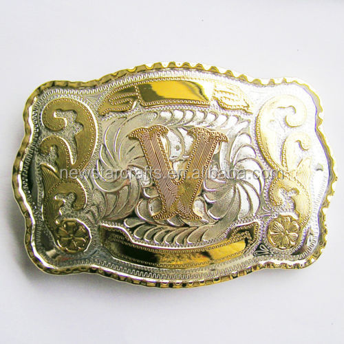 Western Style Initial Letters Cowboy Gold Tone Oval Belt Buckle