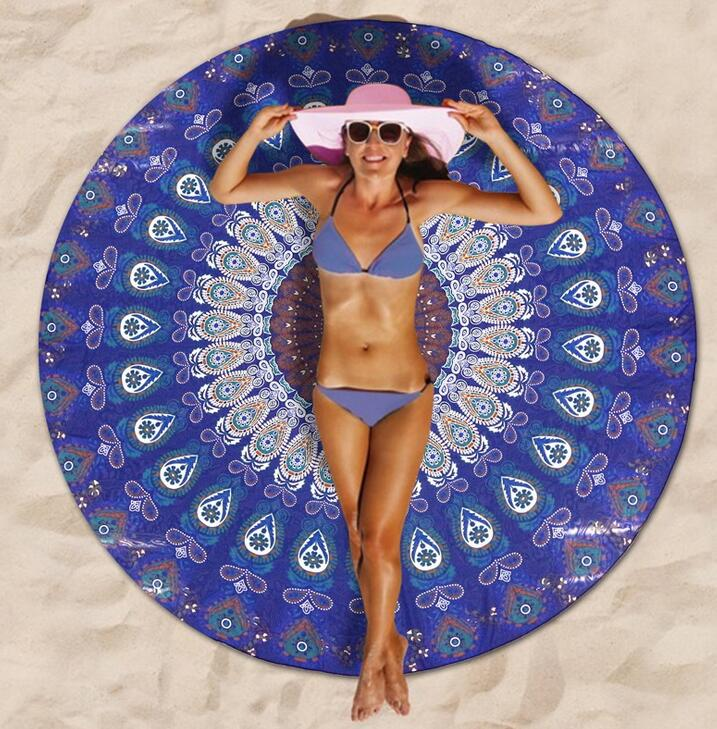 Round Watermelon Beach Towel OEM and ODM Service Supplied Large Circle round Beach Towel with tassels fringe Round