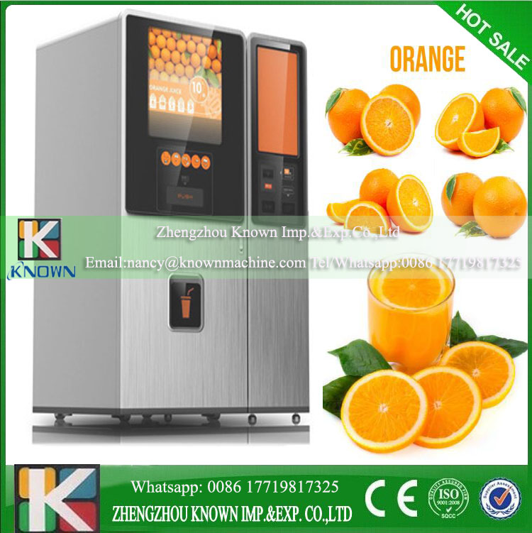 Cup szie options 400ml,380ml,350ml Orange juice big vending machine with sealing system and automatic cleaing system