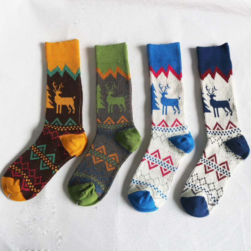 Wholesale Christmas elk double cylinder knit crew sock