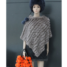 Rabbit Real Fur Cape Latest Design Hand Knitted Genuine Rabbit Fur Shawl