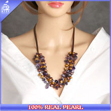 NaturaL Purple Crystal Gemstone 8-9mm Natural Freshwater Pearls Necklace for Women