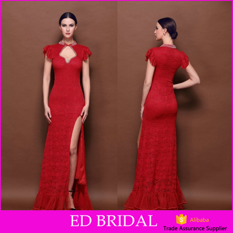 Sexy Red Color Lace Mermaid High Split Side Design Evening Dress 2017