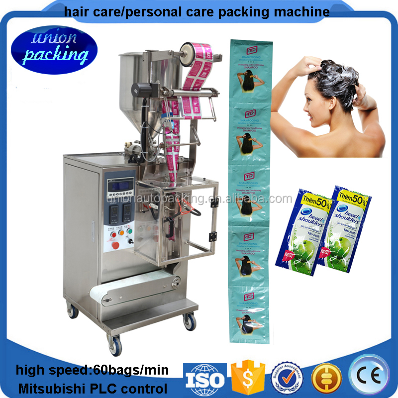 Vertical 3-side-seal liquid/shampoo/cream/sauce/gel filling packing machine