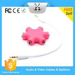 New China Products Wholesale Earphone Headphone Audio Splitter earphone 6 Ports Accessories Adapter Music Sharing for iPhone