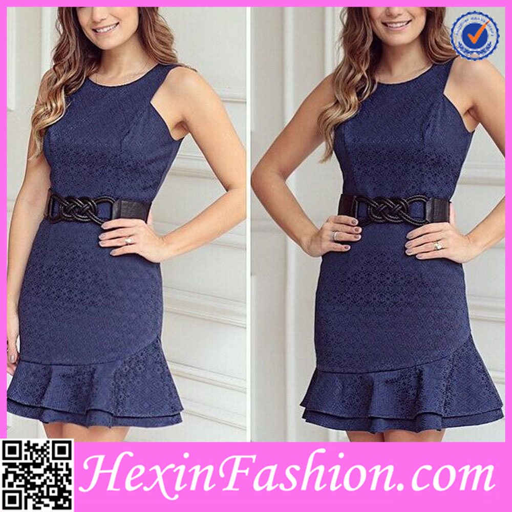 Blue Sexy Latest Dress Designs for Ladies Bodycon Dress 2016 NO MOQ
