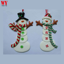 Christmas Snowman clay dough hanging ornament for Xmas tree decoration China supplier wholesale