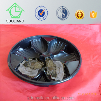 Vacuum Formed Food Grade Round Plastic Food Tray For Oyster Packaging