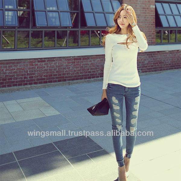 Stylish lined white sweater with front slit NWT Korean girls fashion