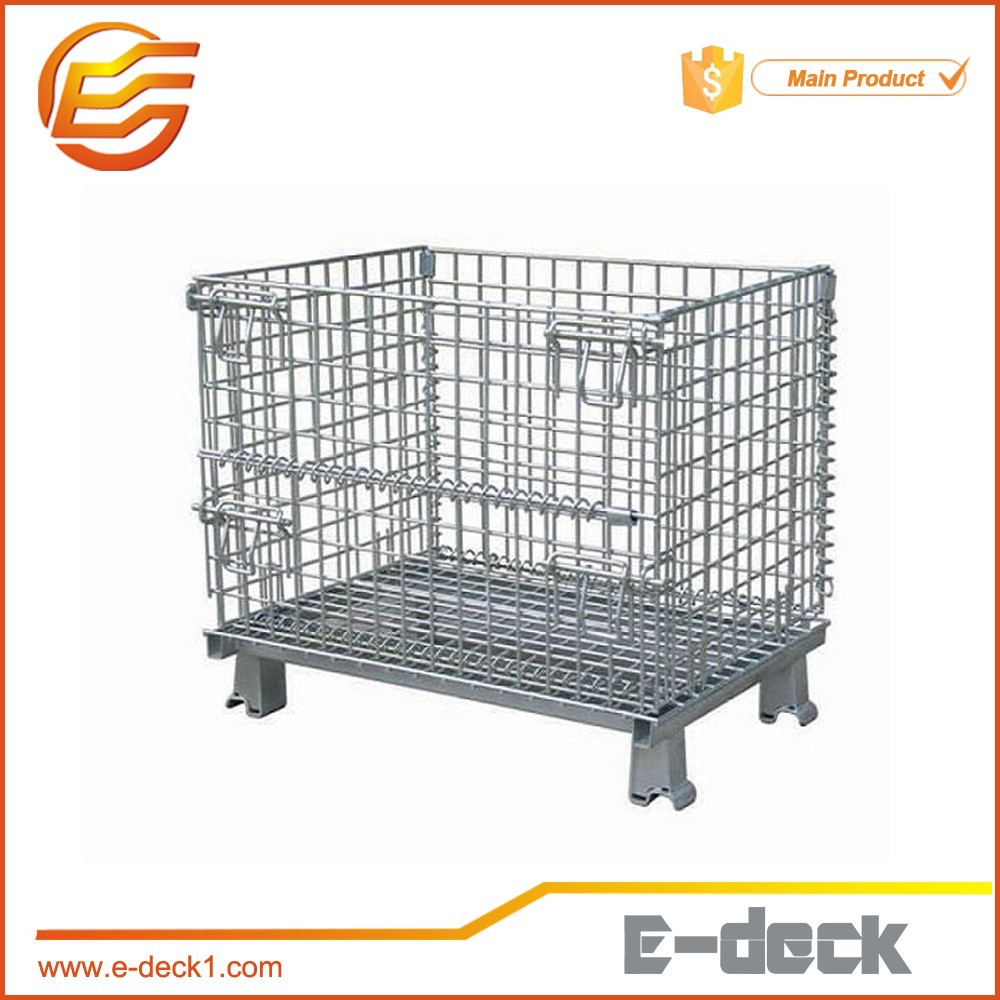 Foldable galvanized wire container stacking bins/steel rack/steel pallet with best price