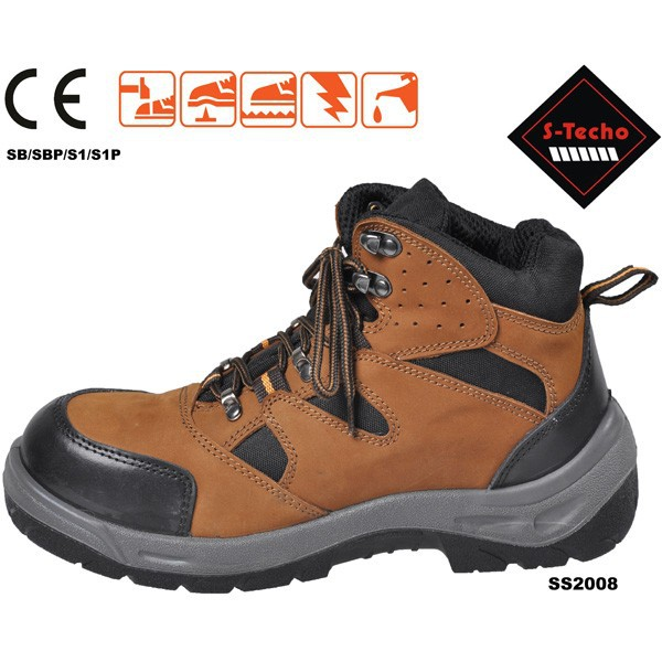 Good leather safety shoes for men with nubuck leather