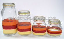 glass storage jar with glass lid and metal clip