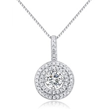 SJ factory Directly Sale SJA55 Cubic Zirconia Prong Setting 925 Sterling Silver Synthetic Diamond Round Pendant for Lady