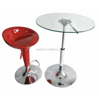 Cheap glass top round bar table