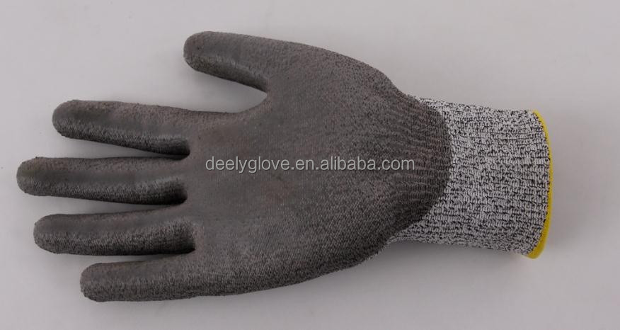 HDPE material Grey PU coating Cut Resistant Gloves/Anti cut gloves--Level 5