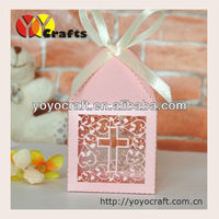 2015 Wholesale and retail laser cut wedding cake boxes wedding souvenirs box with ribbon from YOYO crafts free logo