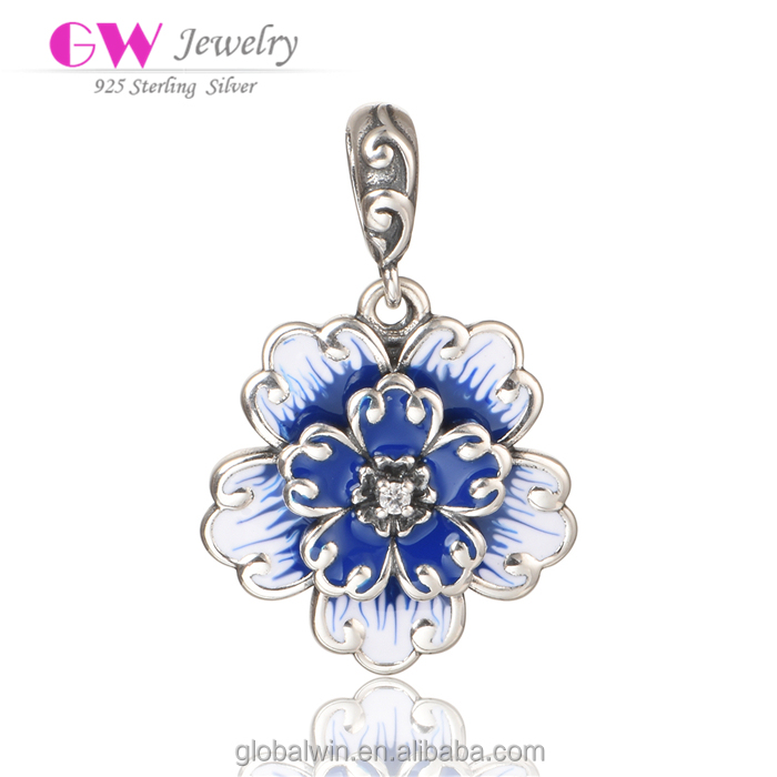 Antique 925 Sterling Silver Cross Pendant Blue Enamel Snowflake Pendant Jewelry Pendant For Necklace