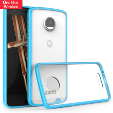 Teal Bumper Clear Hard Acrylic Back Phone Case For Moto Z Droid