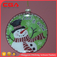 Glass christmas flat balls, handmade glass crafts for christmas decoration supplies